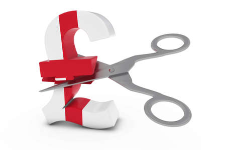 pound symbol: England Price CutDeflation Concept - English Flag Pound Symbol Cut in Half with Scissors - 3D Illustration