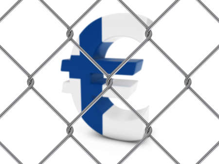 chain link fence: Finnish Flag Euro Symbol Behind Chain Link Fence with depth of field - 3D Illustration