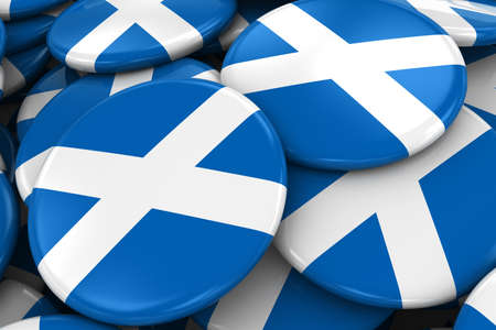 scottish flag: Pile of Scottish Flag Badges - Flag of Scotland Buttons piled on top of each other