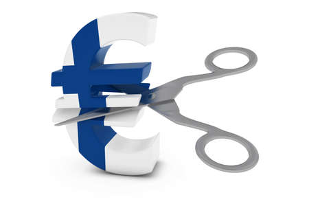cut price: Finland Price CutDeflation Concept - Finnish Flag Euro Symbol Cut in Half with Scissors - 3D Illustration
