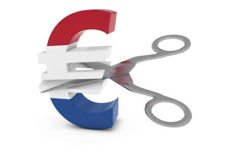 euro symbol: Netherlands Price CutDeflation Concept - Dutch Flag Euro Symbol Cut in Half with Scissors - 3D Illustration Stock Photo