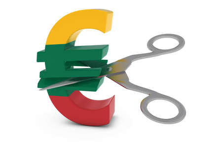 cut price: Lithuania Price CutDeflation Concept - Lithuanian Flag Euro Symbol Cut in Half with Scissors - 3D Illustration