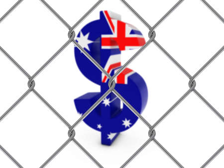 chain link fence: Australian Flag Dollar Symbol Behind Chain Link Fence with depth of field - 3D Illustration Stock Photo