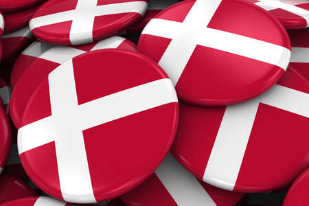 danish flag: Pile of Danish Flag Badges - Flag of Denmark Buttons piled on top of each other - 3D Illustration