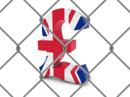 pound symbol: UK Flag Pound Symbol Behind Chain Link Fence with depth of field - 3D Illustration