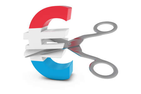 cut price: Luxembourg Price CutDeflation Concept - Luxembourgian Flag Euro Symbol Cut in Half with Scissors - 3D Illustration Stock Photo
