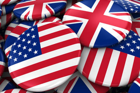 opposed: Flag Badges of America and Britain in Pile - Concept image for US and UK Relations