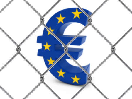 chain link fence: EU Flag Euro Symbol Behind Chain Link Fence with depth of field - 3D Illustration