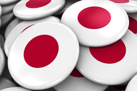 japanese flag: Pile of Japanese Flag Badges - Flag of Japan Buttons piled on top of each other
