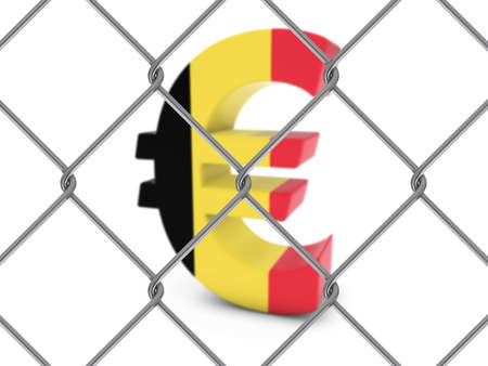 chain link fence: Belgian Flag Euro Symbol Behind Chain Link Fence with depth of field - 3D Illustration Stock Photo