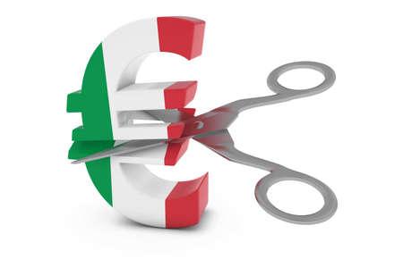 euro symbol: Italy Price CutDeflation Concept - Italian Flag Euro Symbol Cut in Half with Scissors - 3D Illustration