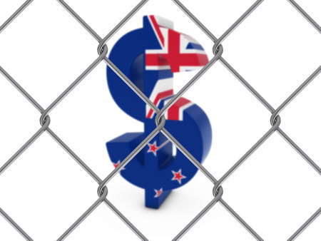 chain link fence: New Zealand Flag Dollar Symbol Behind Chain Link Fence with depth of field - 3D Illustration Stock Photo