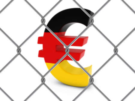 link fence: German Flag Euro Symbol Behind Chain Link Fence with depth of field - 3D Illustration