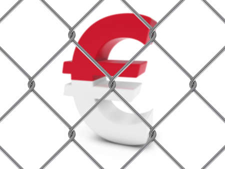 monegasque: Monaco Flag Euro Symbol Behind Chain Link Fence with depth of field - 3D Illustration