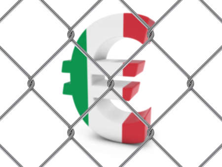 chain link fence: Italian Flag Euro Symbol Behind Chain Link Fence with depth of field - 3D Illustration Stock Photo