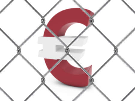 chain link fence: Latvian Flag Euro Symbol Behind Chain Link Fence with depth of field - 3D Illustration