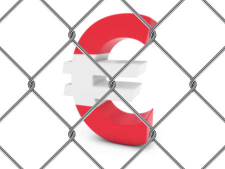 chain link fence: Austrian Flag Euro Symbol Behind Chain Link Fence with depth of field - 3D Illustration