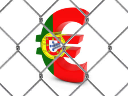 chain link fence: Portugal Flag Euro Symbol Behind Chain Link Fence with depth of field - 3D Illustration Stock Photo