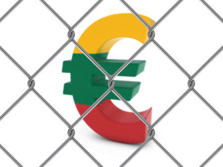 chain link fence: Lithuanian Flag Euro Symbol Behind Chain Link Fence with depth of field - 3D Illustration Stock Photo