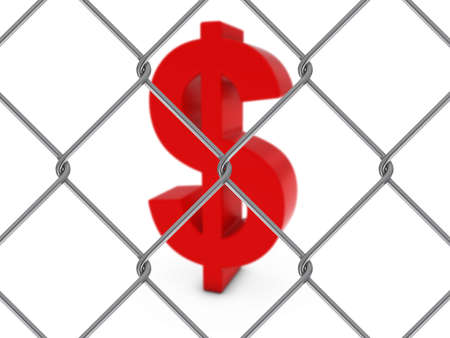 chain link fence: Red Dollar Symbol Behind Chain Link Fence with depth of field - 3D Illustration Stock Photo