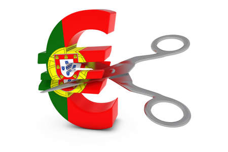 cut price: Portugal Price CutDeflation Concept - Portuguese Flag Euro Symbol Cut in Half with Scissors - 3D Illustration Stock Photo