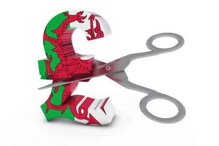 welsh flag: Wales Price CutDeflation Concept - Welsh Flag Pound Symbol Cut in Half with Scissors - 3D Illustration Stock Photo