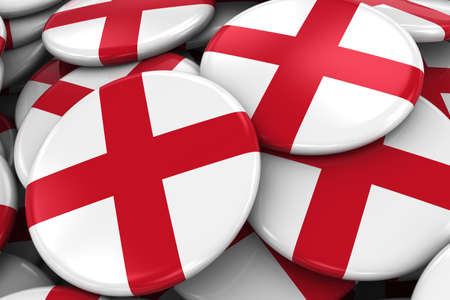 drapeau anglais: Pile of English Flag Badges - Flag of England Buttons piled on top of each other Banque d'images