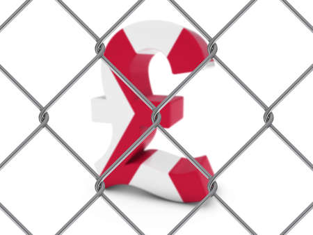 pound symbol: Northern Irish Flag Pound Symbol Behind Chain Link Fence with depth of field - 3D Illustration