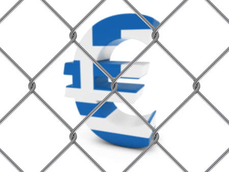 chain link fence: Greek Flag Euro Symbol Behind Chain Link Fence with depth of field - 3D Illustration
