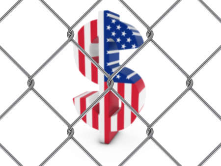 link fence: American Flag Dollar Symbol Behind Chain Link Fence with depth of field - 3D Illustration Stock Photo