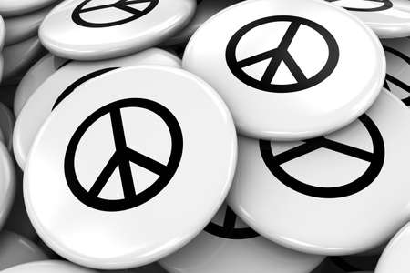 paz mundial: Pile of Peace Symbol Badges - World Peace Concept Image