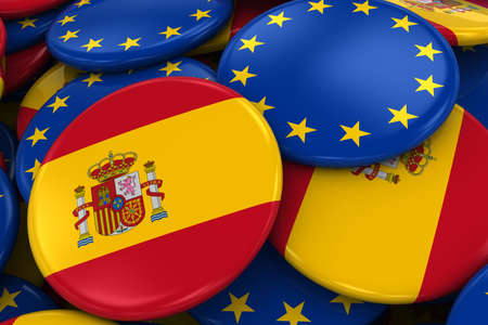 opposed: Flag Badges of Spain and Europe in Pile - Concept image for Spanish and European Relations