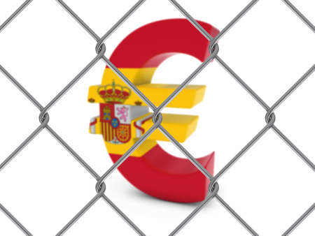 chain link fence: Spanish Flag Euro Symbol Behind Chain Link Fence with depth of field - 3D Illustration Stock Photo
