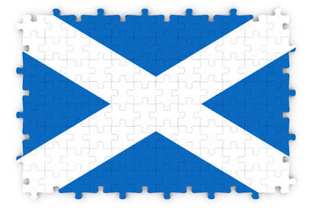scottish flag: Scottish Flag puzzle - Bandiera della Scozia puzzle isolato su bianco