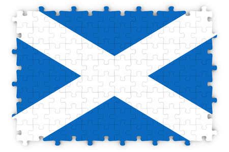 scottish flag: Scottish Flag puzzle - Bandiera della Scozia puzzle isolato su bianco