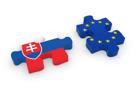 slovakian: Slovakia and EU Puzzle Pieces - Slovakian and European Flag Jigsaw 3D Illustration