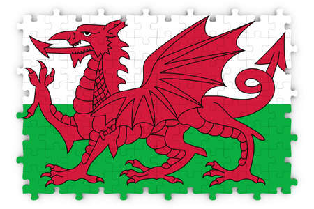 welsh flag: Welsh Flag Jigsaw Puzzle - Flag of Wales Puzzle Isolated on White Archivio Fotografico