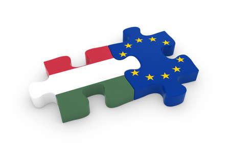 hungarian: Hungary and EU Puzzle Pieces - Hungarian and European Flag Jigsaw 3D Illustration