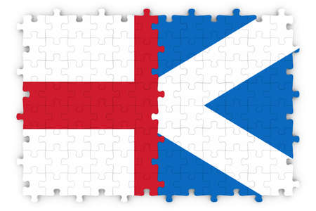 merged: English and Scottish Relations Concept Image - Flags of England and Scotland Jigsaw Puzzle Stock Photo