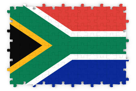 south african flag: South African Flag Jigsaw Puzzle - Flag of South Africa Puzzle Isolated on White Stock Photo