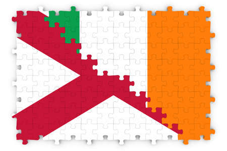 northern ireland: Irish and Northern Irish Relations Concept Image - Flags of Ireland and Northern Ireland Jigsaw Puzzle Stock Photo