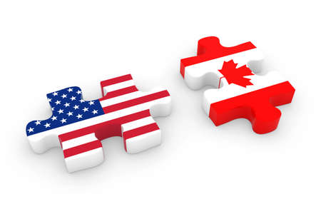 canadian flag: US and Canada Puzzle Pieces - American and Canadian Flag Jigsaw 3D Illustration