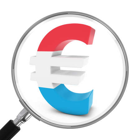 euro symbol: Luxembourg Finance Concept - Luxembourgian Euro Symbol Under Magnifying Glass - 3D Illustration