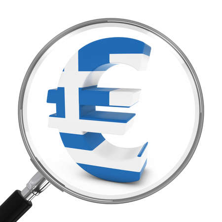 greek currency: Greece Finance Concept - Greek Euro Symbol Under Magnifying Glass - 3D Illustration Stock Photo