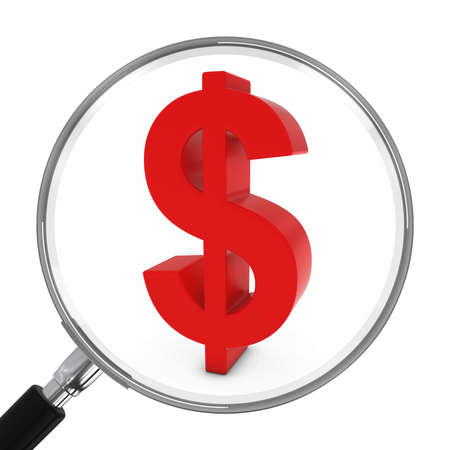 dollar icon: Red Dollar Symbol Under Magnifying Glass - 3D Illustration