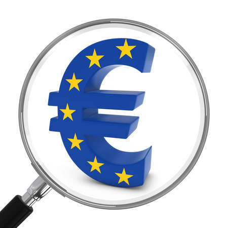 European Finance Concept - EU Flag Euro Symbol Under Magnifying Glass - 3D Illustration