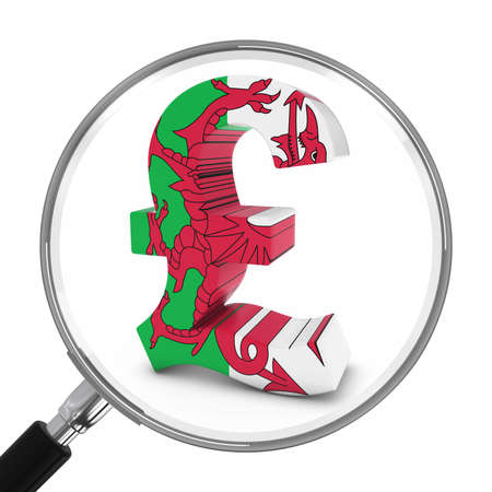 pound symbol: Wales Finance Concept - Welsh Pound Symbol Under Magnifying Glass - 3D Illustration Stock Photo