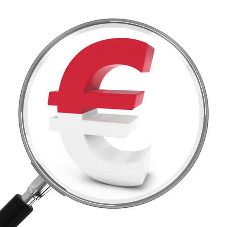 monegasque: Monaco Finance Concept - Monegasque Euro Symbol Under Magnifying Glass - 3D Illustration