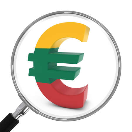 focal: Lithuania Finance Concept - Lithuanian Euro Symbol Under Magnifying Glass - 3D Illustration Stock Photo