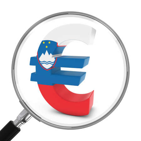 focal: Slovenia Finance Concept - Slovenian Euro Symbol Under Magnifying Glass - 3D Illustration